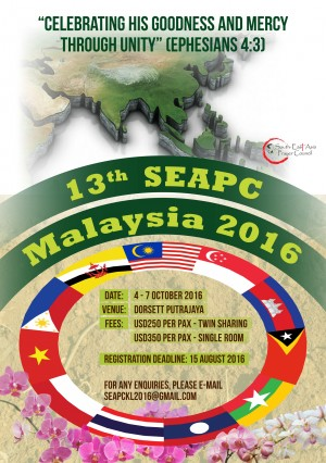 13th SOUTH-EAST ASIA PRAYER CONSULTATION IN MALAYSIA (OCTOBER 4-7, 2016)